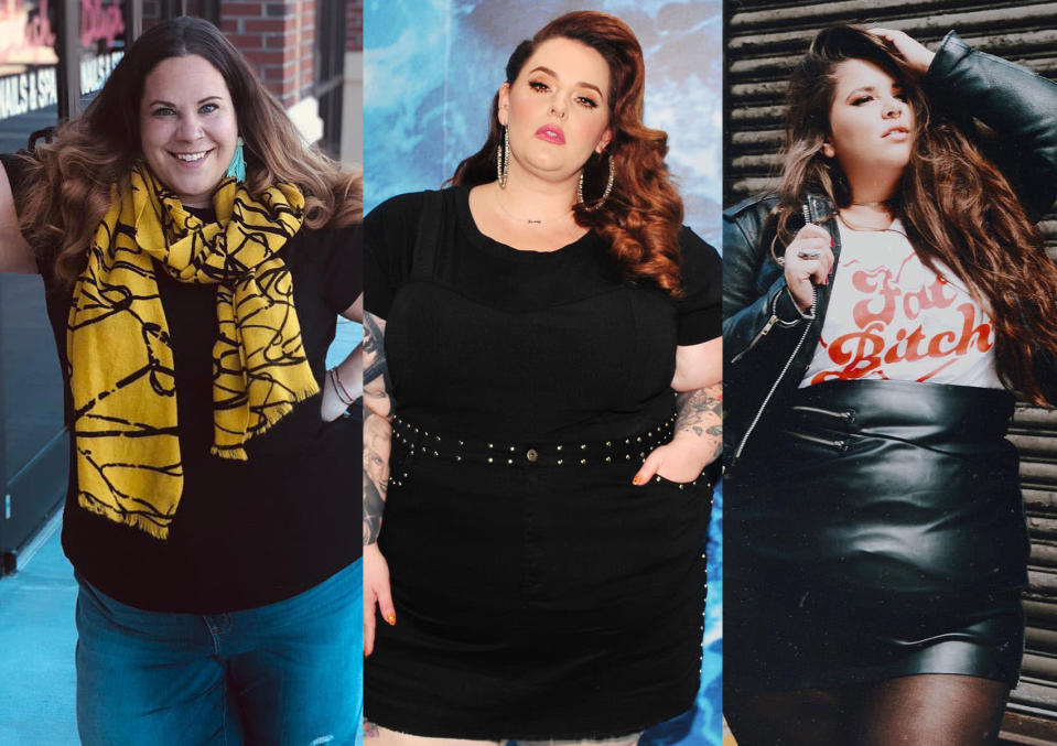 Three body-positive activists — from left, Whitney Way Thore, Tess Holliday, and Natalie Hage — were targeted by a cruel and aggressive troll in a recent message. (Photo: Instagram whitneywaythore/Getty Images/Instagram nataliemeansnice)