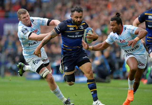 Rugby Union - European Champions Cup Final - Leinster Rugby v Racing 92 - San Mames, Bilbao, Spain - May 12, 2018 Leinster Rugby's Isa Nacewa in action with Racing 92's Teddy Thomas (R) REUTERS/Vincent West