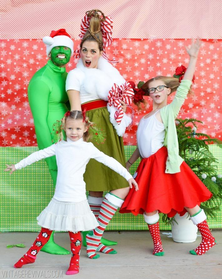 """<p>Even if you don't have the resources to go quite all out, a little wrapping paper backdrop and some bright colors makes a wonder of a difference. Your Christmas card game will grow three sizes. (Photo: <a href=""""http://www.vintagerevivals.com/2013/12/how-the-grinch-stole-christmas-christmas-photo-2013.html"""">Vintage Revival</a>)</p>"""