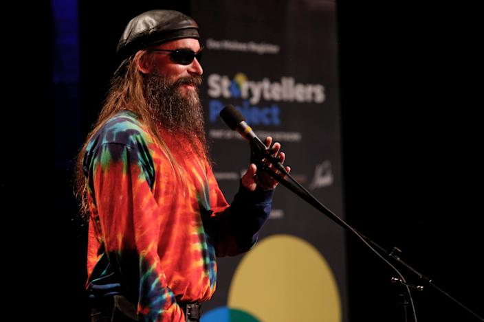 Justin Appel shares his story at the Des Moines Register Storytelling Project at Hoyt Sherman in Des Moines on Tuesday, Aug. 20, 2019.