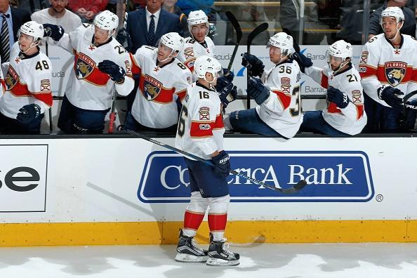 """<a class=""""link rapid-noclick-resp"""" href=""""/nhl/players/5981/"""" data-ylk=""""slk:Aleksander Barkov"""">Aleksander Barkov</a> of the Florida Panthers celebrates his first period goal with teammates during a NHL game against the <a class=""""link rapid-noclick-resp"""" href=""""/nhl/teams/san/"""" data-ylk=""""slk:San Jose Sharks"""">San Jose Sharks</a> at SAP Center at San Jose on February 15, 2017 in San Jose, California. (Getty Images)"""