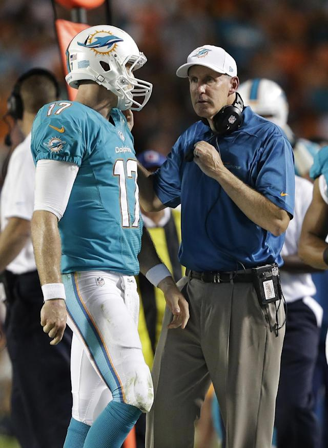 Miami Dolphins coach Joe Philbin speaks to quarterback Ryan Tannehill during the first half of an NFL football game against the Cincinnati Bengals, Thursday, Oct. 31, 2013, in Miami Gardens, Fla. (AP Photo/Wilfredo Lee)