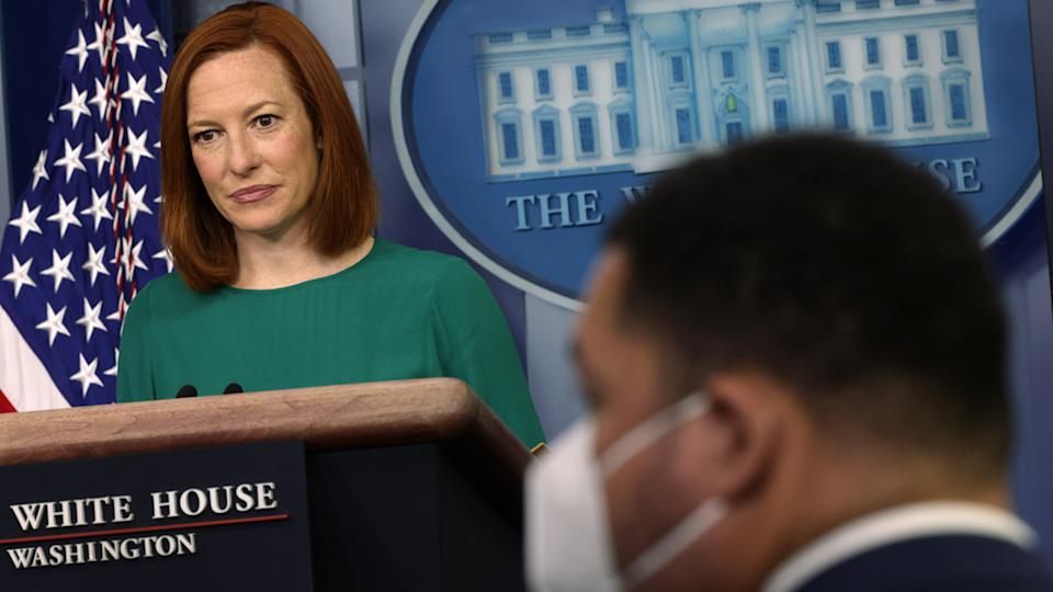 White House Press Secretary Jen Psaki listens during a daily press briefing at the James Brady Press Briefing Room of the White House on April 6, 2021 in Washington, DC. (Alex Wong/Getty Images)
