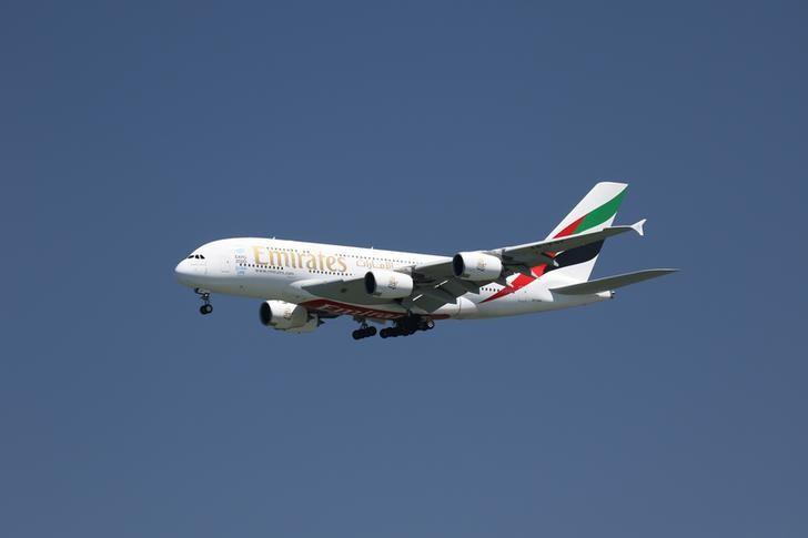 An Emirates Airlines Airbus A380-800, with Tail Number A6-EOF, lands at San Francisco International Airport, San Francisco