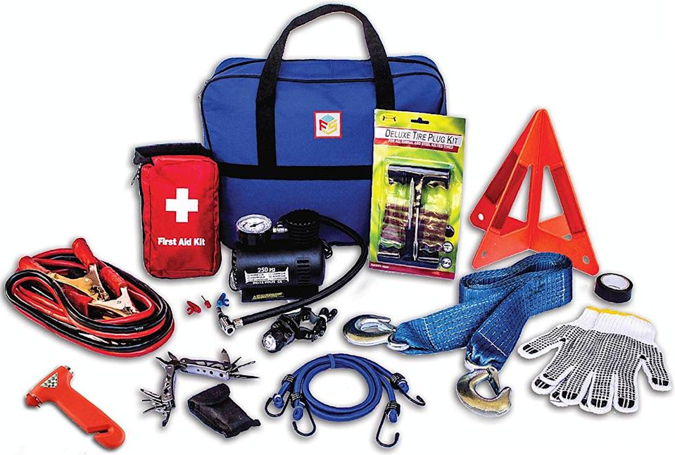 <p>Keep this <span>First Secure 90-Piece Car Emergency Kit</span> ($55) in your automobile to prepare yourself in case of an emergency. It contains must-have items such as jumper cables and a flashlight that works without batteries.</p>