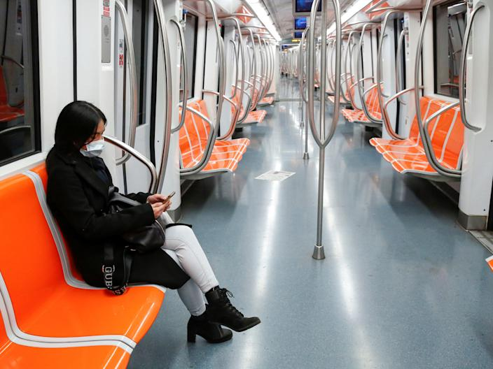 An empty train in Rome, Italy.