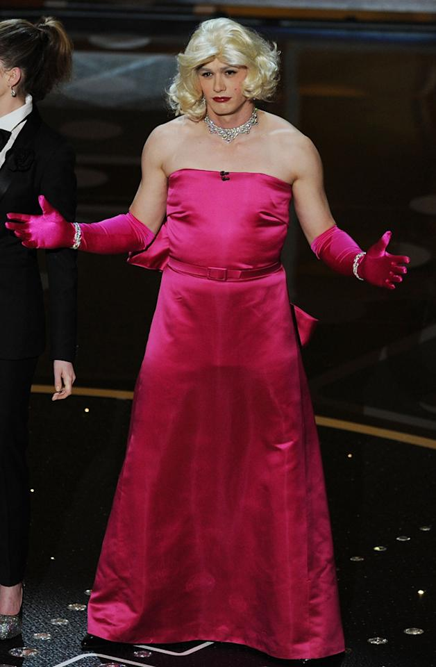 """James Franco dressed as Marilyn Monroe during a skit at the 83rd Annual Academy Awards while he co-hosted the show with Anne Hathaway. The actor later said he regretted participating in the gag saying, """"<span>Me in drag is not funny.""""</span>"""