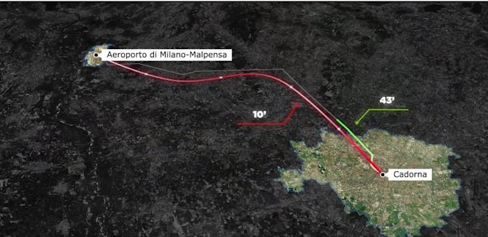 Proposed route for the collaborative Zaha Hadid/Hyperloop route.