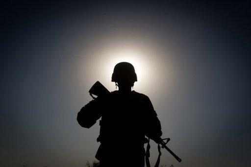 An Afghan soldier on patrol near Kandahar