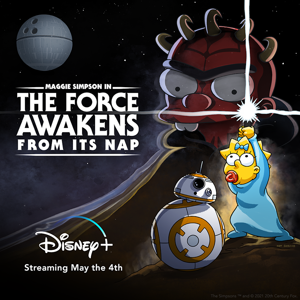 Key art for The Simpsons Star Wars short, which featuires Maggie holding a lightsaber near BB-8, with the Unibrow baby behind her as Darth Maul