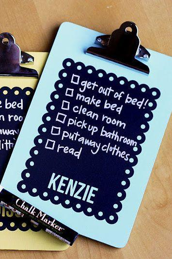 """<p>Transform a plain old clipboard into a personalized chore chart with some chalkboard paint.</p><p><strong><em><a href=""""https://eighteen25.com/chalkboard-chore-charts/"""" rel=""""nofollow noopener"""" target=""""_blank"""" data-ylk=""""slk:Get the tutorial at Eighteen 25."""" class=""""link rapid-noclick-resp"""">Get the tutorial at Eighteen 25.</a></em></strong></p>"""