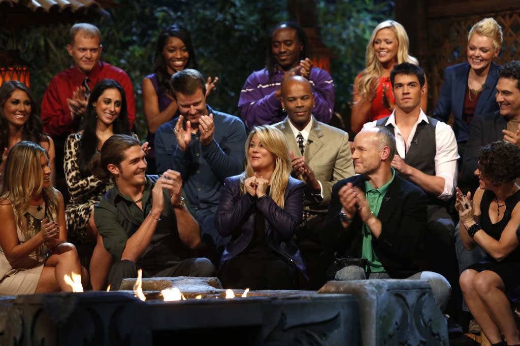 "The cast of ""Survivor: Philippines"" during the live one-hour reunion show."