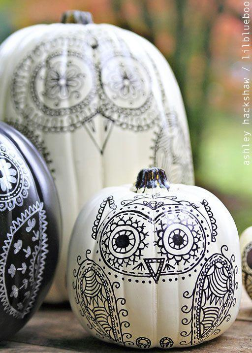"""<p>Draw on these cute owl designs with a Sharpie marker. Slightly change up each bird for a more interesting combination.</p><p><em><strong>Get the tutorial from <a href=""""http://www.lilblueboo.com/2014/10/how-to-make-sharpie-owl-pumpkins.html?crlt.pid=camp.cn3axu1GYUsD"""" rel=""""nofollow noopener"""" target=""""_blank"""" data-ylk=""""slk:Ashely Hackshaw"""" class=""""link rapid-noclick-resp"""">Ashely Hackshaw</a>.</strong></em><strong><br></strong></p>"""