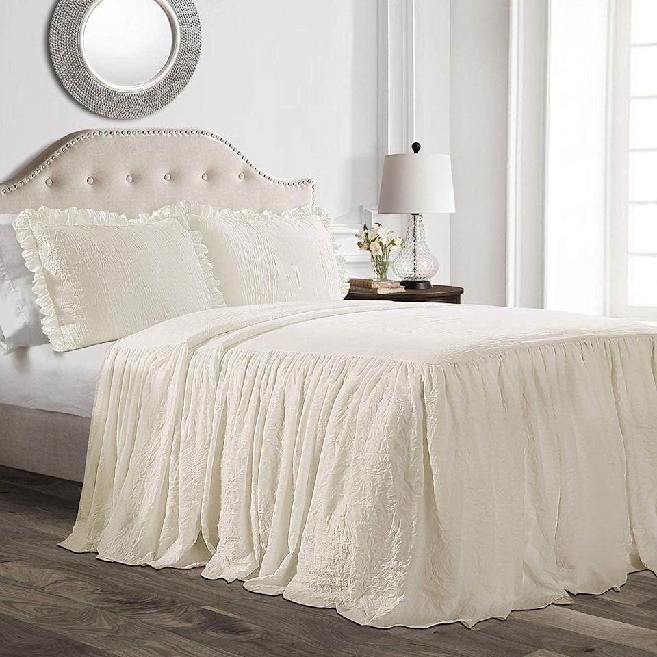 """<p>Cover your bed with this <a href=""""https://www.popsugar.com/buy/Lush-D%C3%A9cor-Ruffle-Skirt-Bedspread-3-Piece-Set-506768?p_name=Lush%20D%C3%A9cor%20Ruffle%20Skirt%20Bedspread%203%20Piece%20Set&retailer=amazon.com&pid=506768&price=95&evar1=casa%3Aus&evar9=46805816&evar98=https%3A%2F%2Fwww.popsugar.com%2Fphoto-gallery%2F46805816%2Fimage%2F46805817%2FRuffley-Bedspread&list1=shopping%2Camazon%2Cdecor%20inspiration%2Cshopping%20guide&prop13=api&pdata=1"""" class=""""link rapid-noclick-resp"""" rel=""""nofollow noopener"""" target=""""_blank"""" data-ylk=""""slk:Lush Décor Ruffle Skirt Bedspread 3 Piece Set"""">Lush Décor Ruffle Skirt Bedspread 3 Piece Set</a> ($95), and you'll feel like rustic royalty.</p>"""