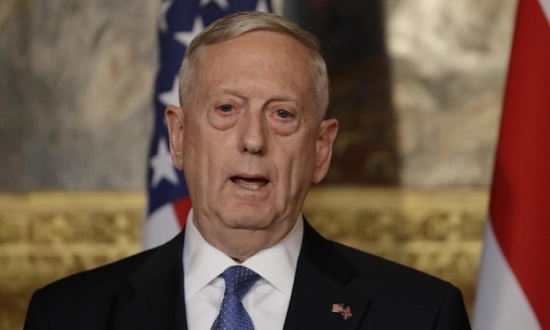 James Mattis, the US defence secretary, speaks during a press conference in London.