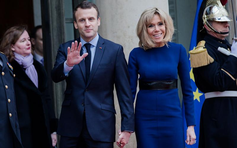 French President of the Republic, Emmanuel Macron and his wife Brigitte attend the Grand Duke and the Grand Duchess of Luxembourg, at the Elysee Palace for a meeting on March 19 - Getty Images Europe