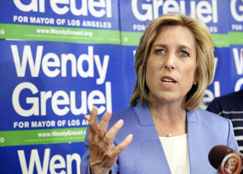 Mayoral candidate Wendy Greuel speaks during a news conference Wednesday May 22, 2013 in Los Angeles where she discussed her loss to Eric Garcetti in the Los Angeles Mayor's race. (AP Photo/Nick Ut)