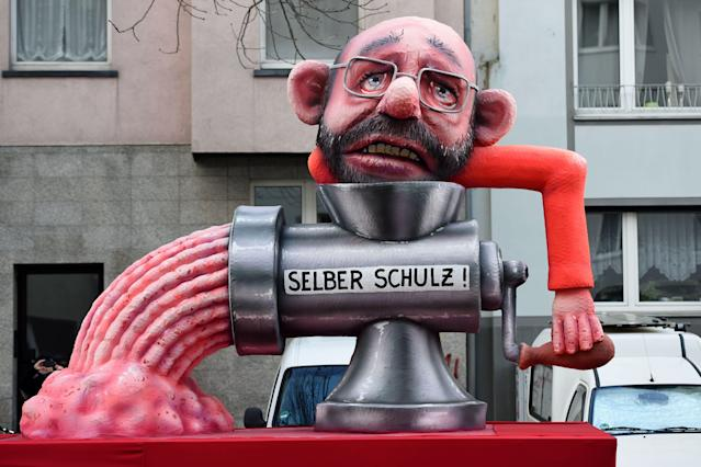 "<p>A carnival float, depicting the leader of the German Social Democrats (SPD) Martin Schulz, is pictured during a carnival parade on Rose Monday on Feb. 12, 2018 in Duesseldorf, western Germany. The writing reads ""himself"". Germany. (Photo: Patrik Stollarz/Getty Images) </p>"