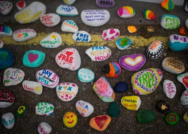 Painted stones in support of Richard Ratcliffe, the husband of detained Nazanin Zaghari Ratcliffe, outside the Iranian Embassy in Knightsbridge, London