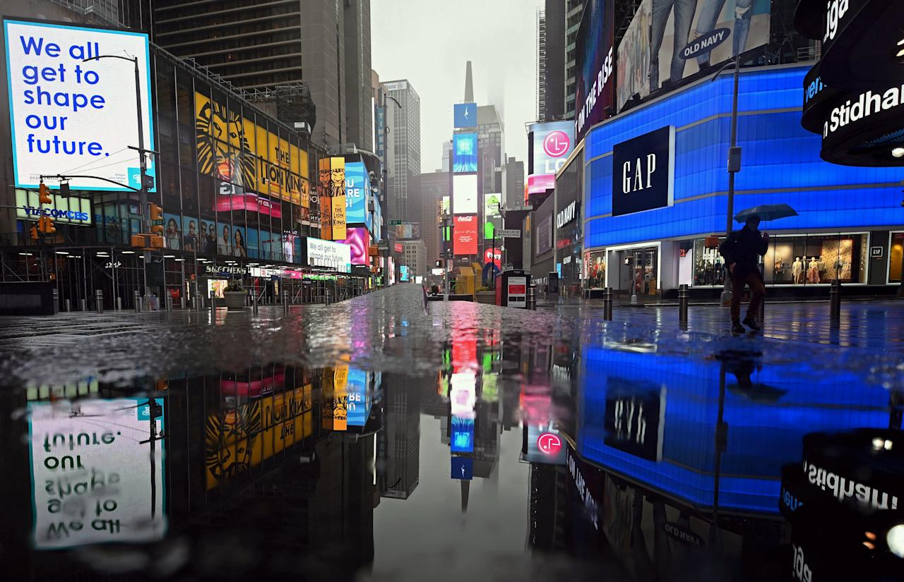 """<a href=""""https://www.cntraveler.com/destinations/new-york-city?mbid=synd_yahoo_rss"""">New York City</a> officials asked all residents (except for essential workers) to stay home starting on March 22, leaving iconic landmarks like Times Square nearly empty. The desertion feels even more stark when you consider that pre-lockdown, approximately <a href=""""https://www.timessquarenyc.org/do-business/market-research-data/pedestrian-counts"""" target=""""_blank"""">380,000 pedestrians</a> passed through the heart of Times Square every day."""