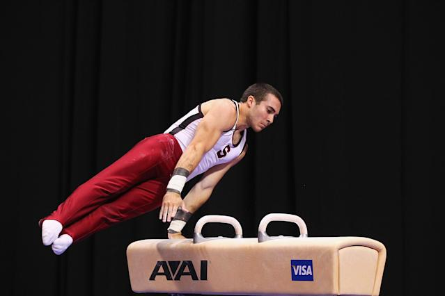 ST. LOUIS, MO - JUNE 7: Sean Senters competes on the pummel horse during the Senior Men's competition on day one of the Visa Championships at Chaifetz Arena on June 7, 2012 in St. Louis, Missouri. (Photo by Dilip Vishwanat/Getty Images)