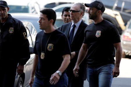 FILE PHOTO: Brazilian Olympic Committee (COB) President Carlos Arthur Nuzman arrives to Federal Police headquarters in Rio de Janeiro, Brazil October 5, 2017. REUTERS/Bruno Kelly/File Photo