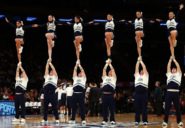 NEW YORK, NY - NOVEMBER 15: The Villanova Wildcats cheer squad performs during a time out in the first half against the Purdue Boilermakers during the 2012 2K Sports Classic on November 15, 2012 at Madison Square Garden in New York City. (Photo by Elsa/Getty Images)
