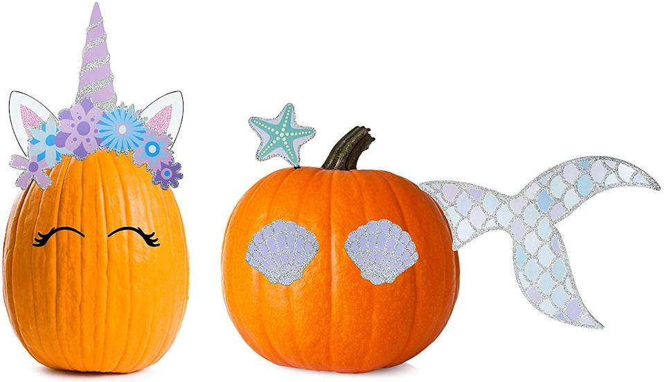 """<h2>Unicorn and Mermaid Theme Pumpkin Kit<br></h2> <br> <strong>Best For: The Spooky Cutie</strong> <br>This kit takes a different approach to pumpkin decorating — instead of spooky you'll be channeling cutie. It comes with two seven-piece unicorn and mermaid decal sets that easily stick into your pumpkin with metal rods. Adorable results with little effort (and even less pumpkin-gut mess)! <br> <br> <em>Shop</em> <strong><em><a href=""""https://dash-wp.refinery29.com/wp-admin/post.php?post=10065495&action=edit"""" rel=""""nofollow noopener"""" target=""""_blank"""" data-ylk=""""slk:Decorae"""" class=""""link rapid-noclick-resp"""">Decorae</a></em></strong> <br> <br> <br> <strong>Decorae</strong> Halloween Pumpkin Kit Sets (Unicorn and Mermaid Theme), $, available at <a href=""""https://amzn.to/3ilkrUr"""" rel=""""nofollow noopener"""" target=""""_blank"""" data-ylk=""""slk:Amazon"""" class=""""link rapid-noclick-resp"""">Amazon</a>"""