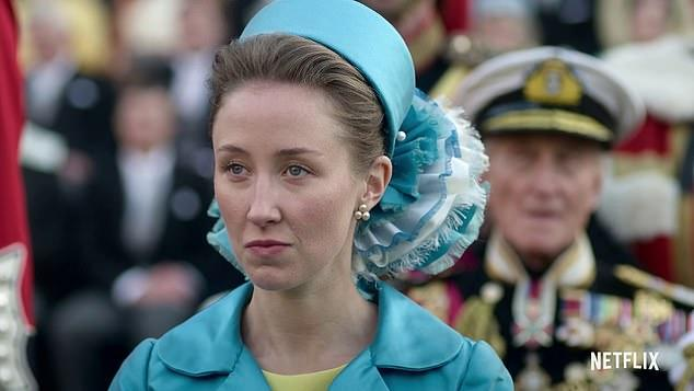 A photo of actor Erin Doherty as Princess Anne in The Crown season three.