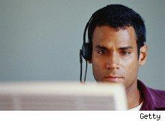 Telemarketer with headset