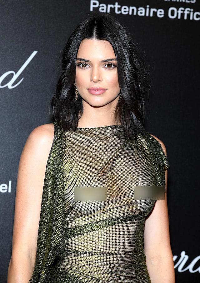 Kendall Jenner turned heads at the Cannes Film Festival wearing a sheer dress. (Photo: Getty Images)