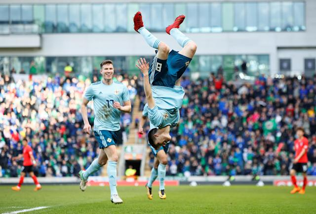 Soccer Football - International Friendly - Northern Ireland vs South Korea - National Football Stadium at Windsor Park, Belfast, Britain - March 24, 2018 Northern Ireland's Paul Smyth celebrates scoring their second goal Action Images via Reuters/Jason Cairnduff
