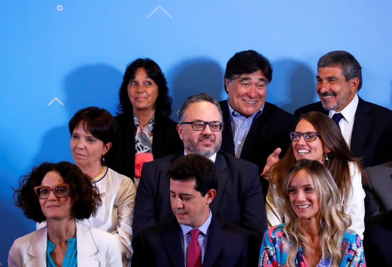 Argentina's incoming Production Minister, Matias Kulfas looks on as Argentina's President-elect Alberto Fernandez announces his cabinet, ahead of taking office, in Buenos Aires