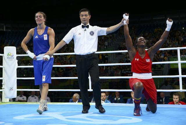 2016 Rio Olympics - Boxing - Final - Women's Middle (75kg) Final Bout 270 - Riocentro - Pavilion 6 - Rio de Janeiro, Brazil - 21/08/2016. Claressa Shields (USA) of USA reacts after winning her bout against Nouchka Fontijn (NED) of Netherlands. REUTERS/Peter Cziborra FOR EDITORIAL USE ONLY. NOT FOR SALE FOR MARKETING OR ADVERTISING CAMPAIGNS.