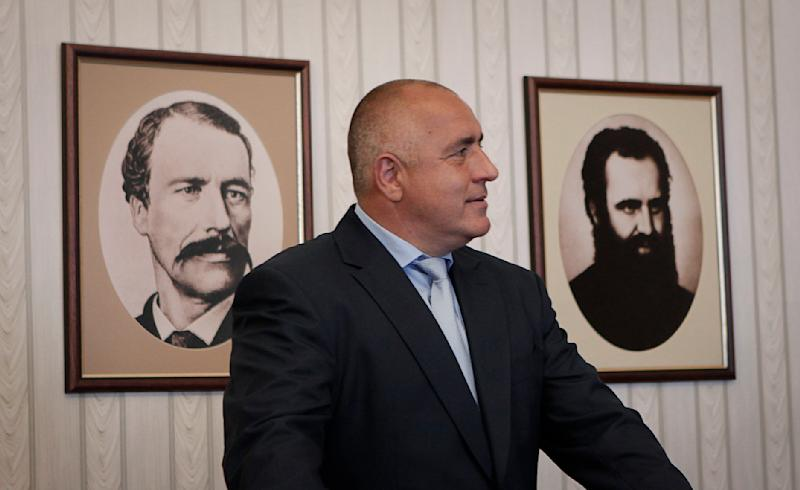Boyko Borisov, former Bulgaria's prime minister and leader of the center-right GERB, waits before his meeting with Bulgaria's President Rosen Plevneliev, not in the photo, in Sofia, Friday, May 17, 2013. Borisov whose center-right GERB party won 97 seats in the 240-member parliament will have consultations with President following last week's general elections. (AP Photo/Valentina Petrova)