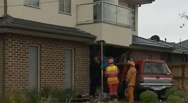 The damage to the front of the Pohls's home. Source: 7News