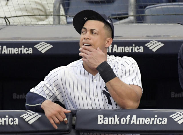 "New York Yankee <a class=""link rapid-noclick-resp"" href=""/mlb/players/8634/"" data-ylk=""slk:Giancarlo Stanton"">Giancarlo Stanton</a> is hot as of late, so maybe there's time for him to turn things around at the plate. (AP Photo/Bill Kostroun)"