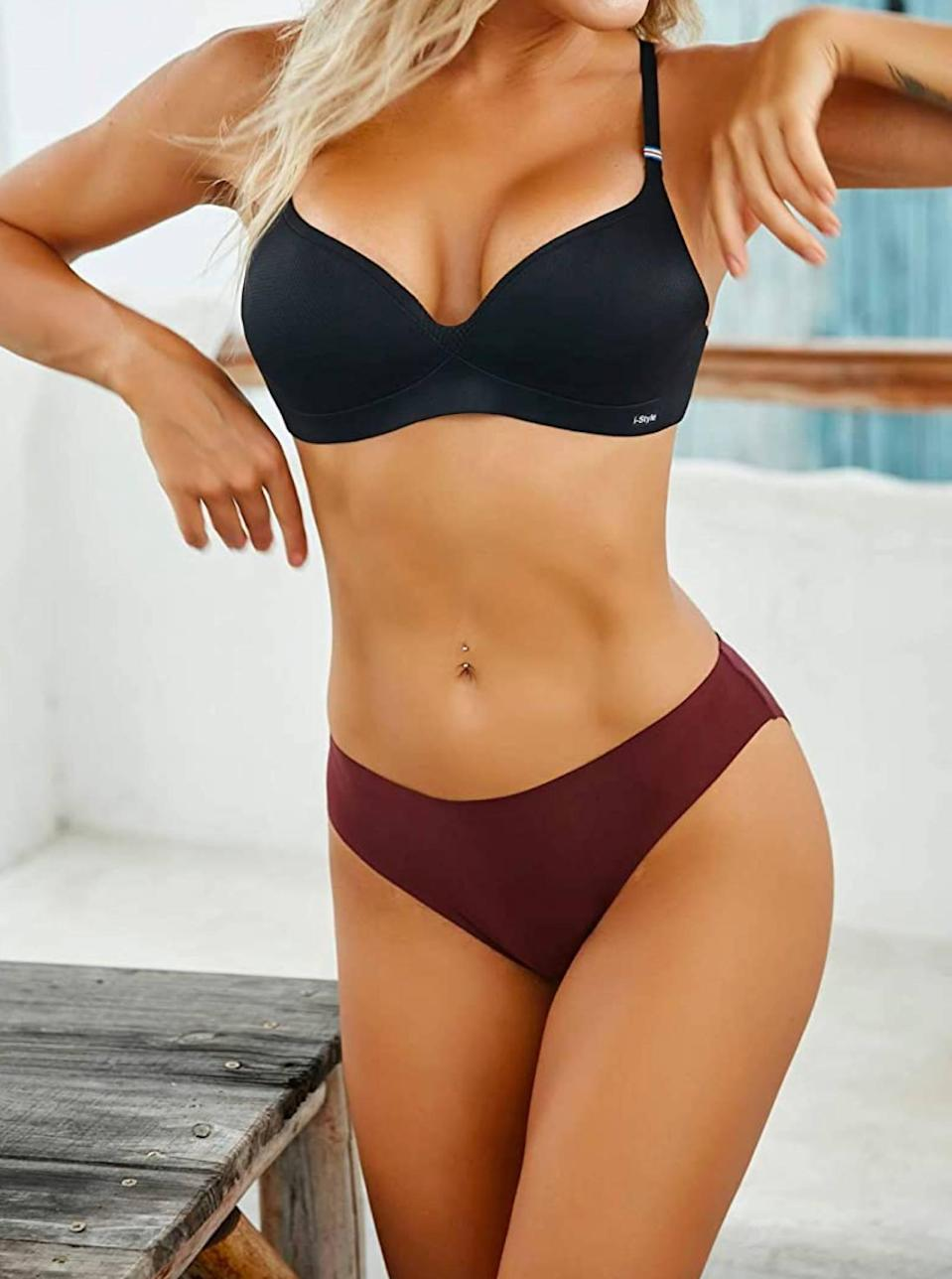 """At $3 a pop, there's no reason <em>not</em> to add this bulk pack of no-show underwear to cart. Oh, and if you're worried the price is too good to be true, one reviewer was so convinced by the quality of these seamless hipsters, <a href=""""https://cna.st/affiliate-link/Daa4E2BFDsDhwTUfu6Bjc2WYjtxy6KYvnV4DCHEFvYvQ7gpzrXyDFoPLY7rB7yefzFCtfx4?cid=60bfa43c27ca633a4e3a2368"""" rel=""""nofollow noopener"""" target=""""_blank"""" data-ylk=""""slk:she said"""" class=""""link rapid-noclick-resp"""">she said</a> she """"bought three sets and threw all her old ones away."""" $20, Amazon. <a href=""""https://www.amazon.com/Seamless-Hipster-Underwear-Invisibles-Underwears/dp/B08LKR8HMT/ref="""" rel=""""nofollow noopener"""" target=""""_blank"""" data-ylk=""""slk:Get it now!"""" class=""""link rapid-noclick-resp"""">Get it now!</a>"""