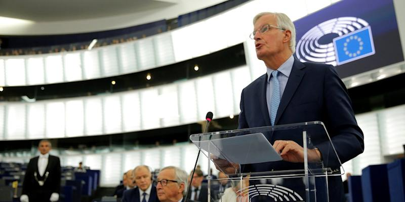 European Union's chief Brexit negotiator Michel Barnier addresses the plenary of the European Parliament on Britain's withdrawal from the European Union during a debate on Brexit at the European Parliament in Strasbourg, France, September 18, 2019. REUTERS/Vincent Kessler