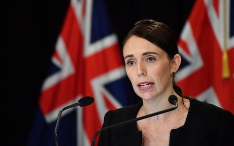 Jacinda Ardern, the prime minister of New Zealand speaks on Saturday morning in Wellington - Credit:  Mark Tantrum/Getty