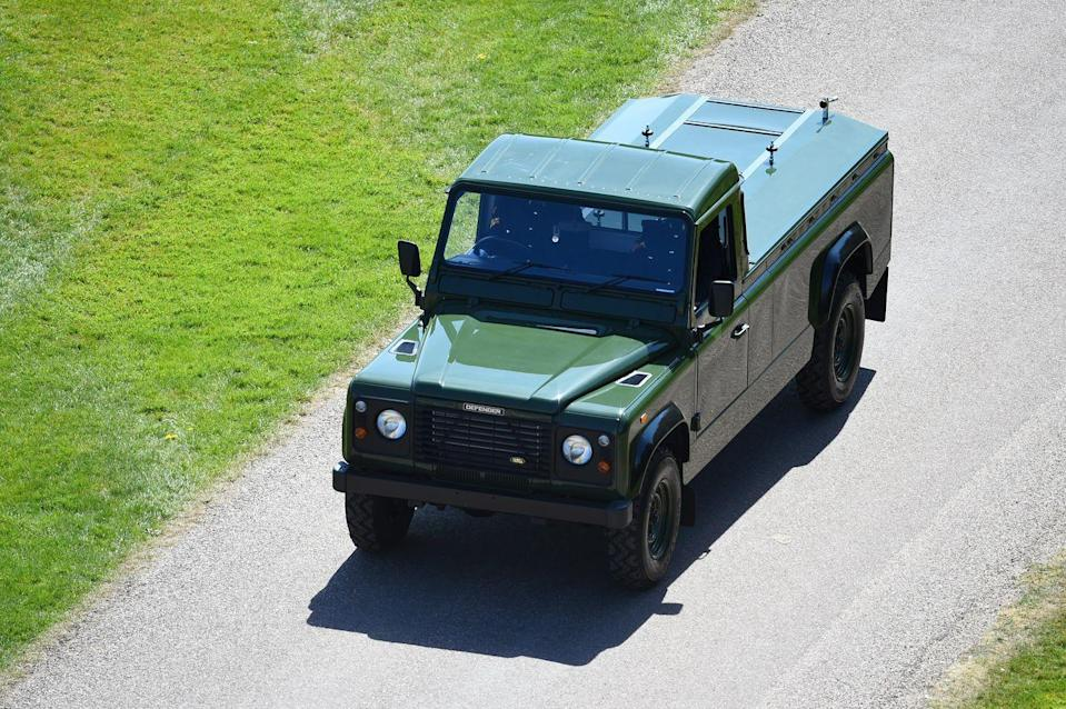 <p>The custom Land Rover commissioned by Prince Philip to carry his coffin.</p>