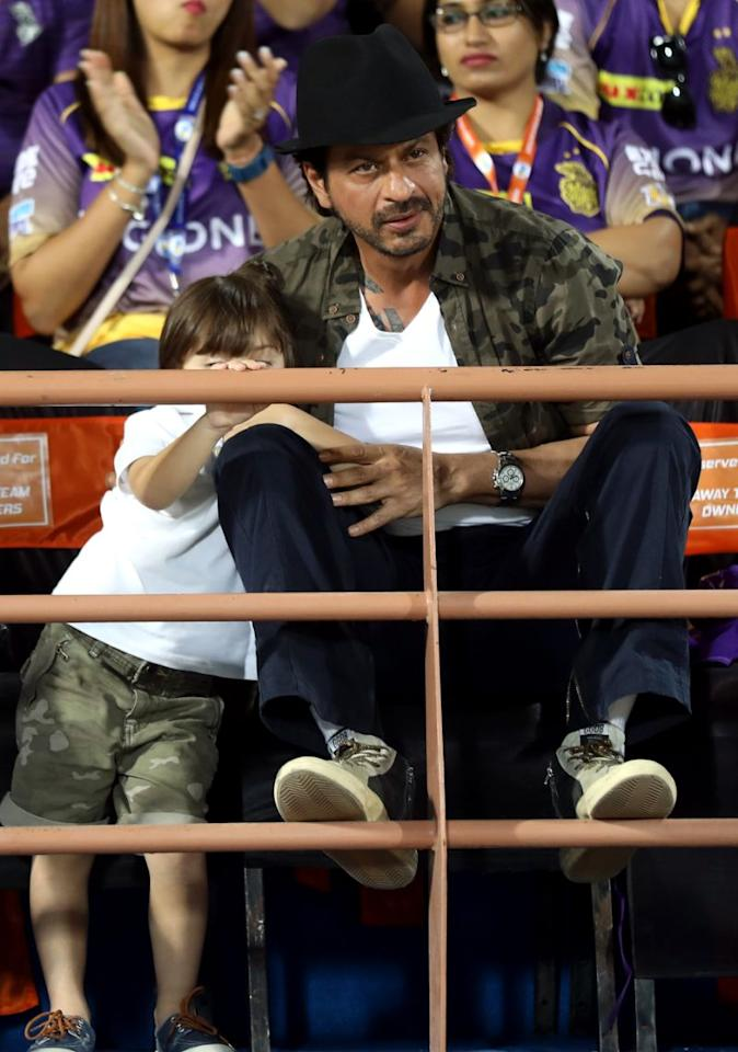 <p>Little AbRam accompanied his father to Rajkot for KKR's first match of the season. (Photo: BCCI) </p>