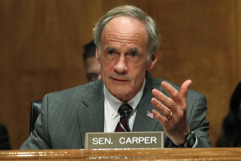 Sen. Thomas Carper, D-Del., asks a question during a Senate Homeland Security Committee hearing in 2018 on Capitol Hill in Washington. (Photo: Jacquelyn Martin/AP)