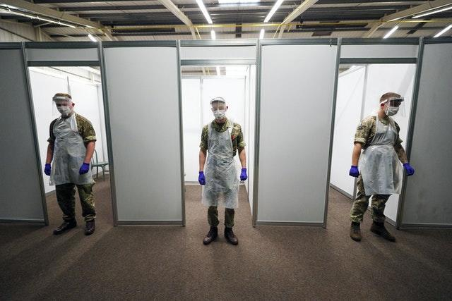 Soldiers ready to carry out tests at the Liverpool Tennis Centre in Wavertree