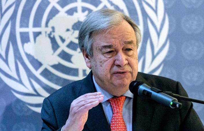 UN chief Antonio Guterres flew into Sweden late Wednesday (AFP Photo/Alberto RAGGIO)
