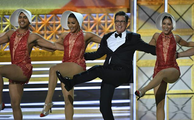 Emmys host Stephen Colbert said he hoped the show would earn high ratings because that's what President Donald Trump respects. (FREDERIC J. BROWN via Getty Images)