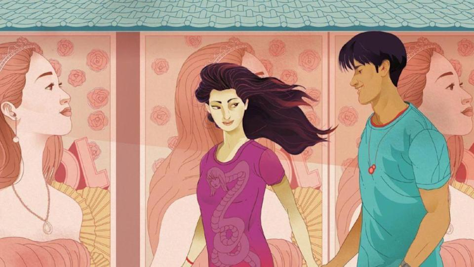 Rika holds hands with a boy in cover art From Little Tokyo, With Love by Sarah Kuhn