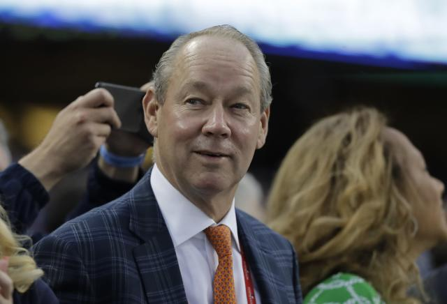 FILE - In this Nov. 1, 2017 file photo Houston Astros owner Jim Crane is seen before Game 7 of baseball's World Series against the Los Angeles Dodgers in Los Angeles. Crane has sent a letter to a Sports Illustrated reporter to apologize for accusing her of trying to fabricate a story and to retract its statement. Assistant general manager Brandon Taubman eventually was fired for directing inappropriate comments at female reporters during the team's celebration after clinching the AL pennant. But the Astros initially called Stephanie Apsteins report on it misleading and completely irresponsible. Crane now says: We were wrong. (AP Photo/David J. Phillip, file)