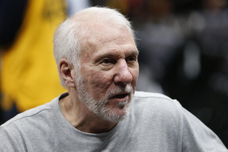 San Antonio Spurs coach Gregg Popovich is 71 years old and one of several NBA head coaches and front-office staffers who could be at a higher risk for the coronavirus. (AP Photo/Rick Bowmer)