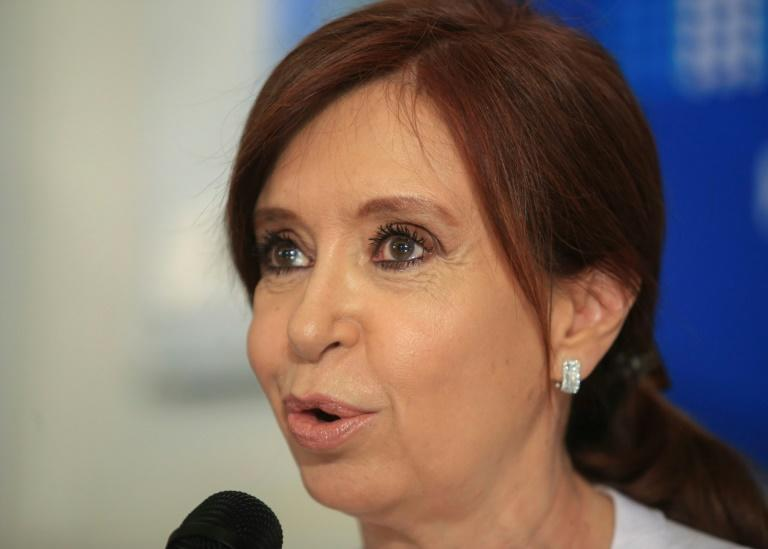 Former Argentine president Cristina Kirchner speaks at a press conference in the National Congress in Buenos Aires on December 7, 2017